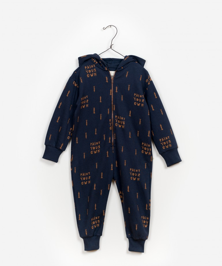 Printed Fleece Jumpsuit
