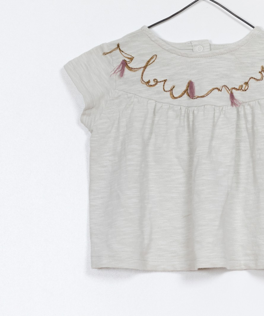 T-shirt bordado jersey flamê
