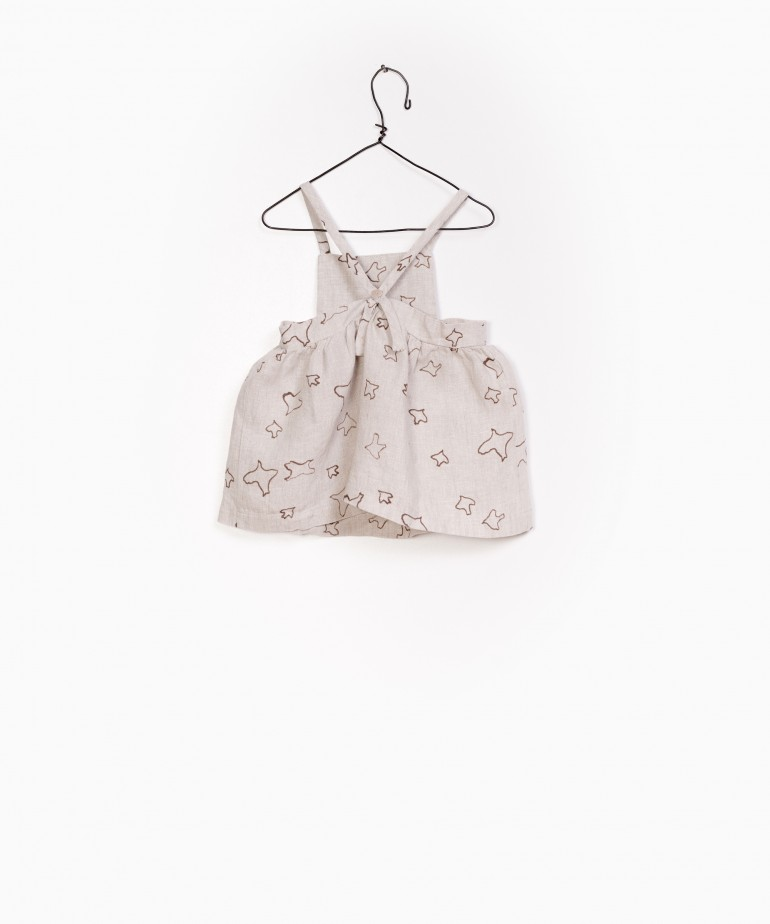Printed Linen Dungaree Skirt