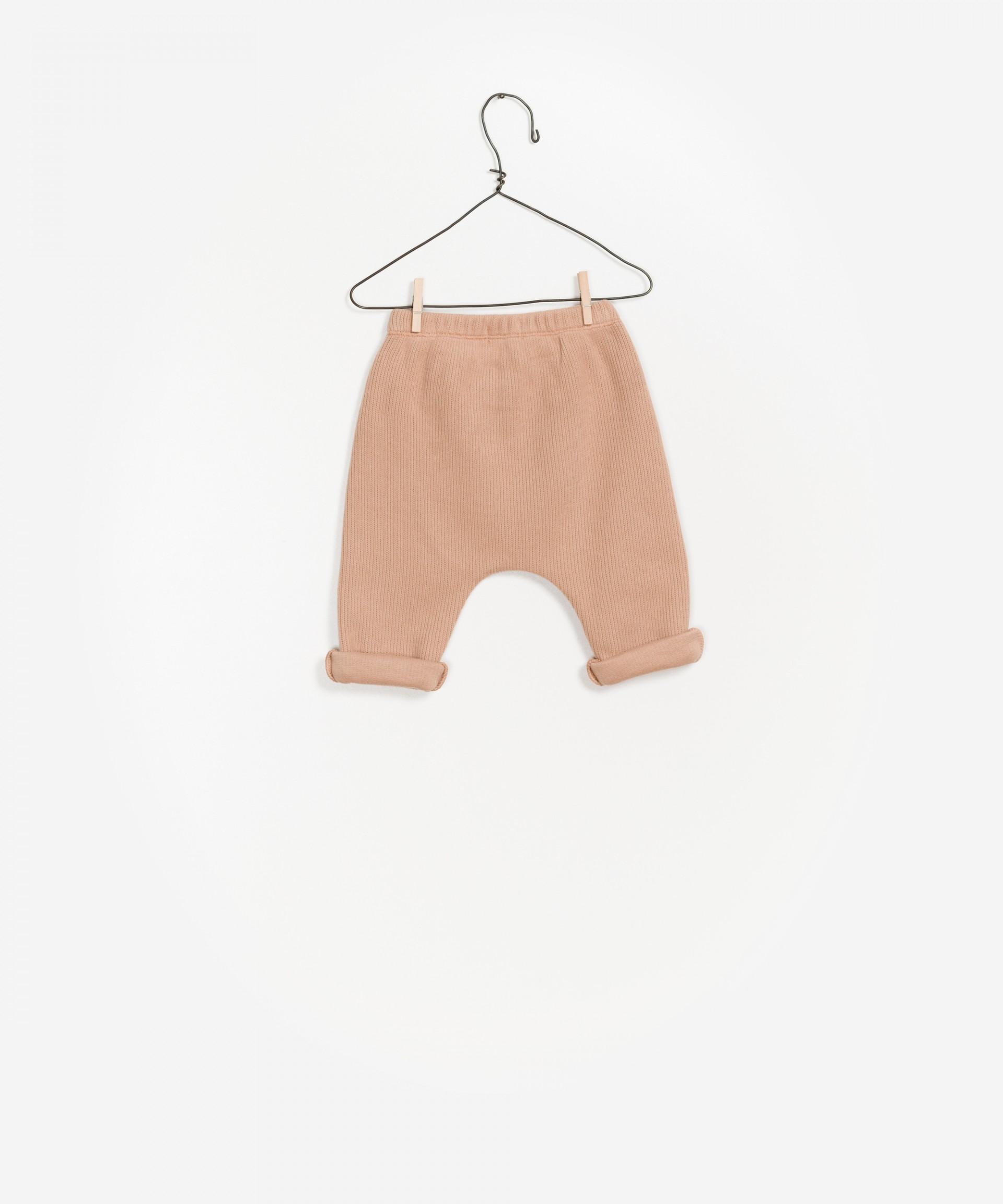 Rib knit pants, elastic waist