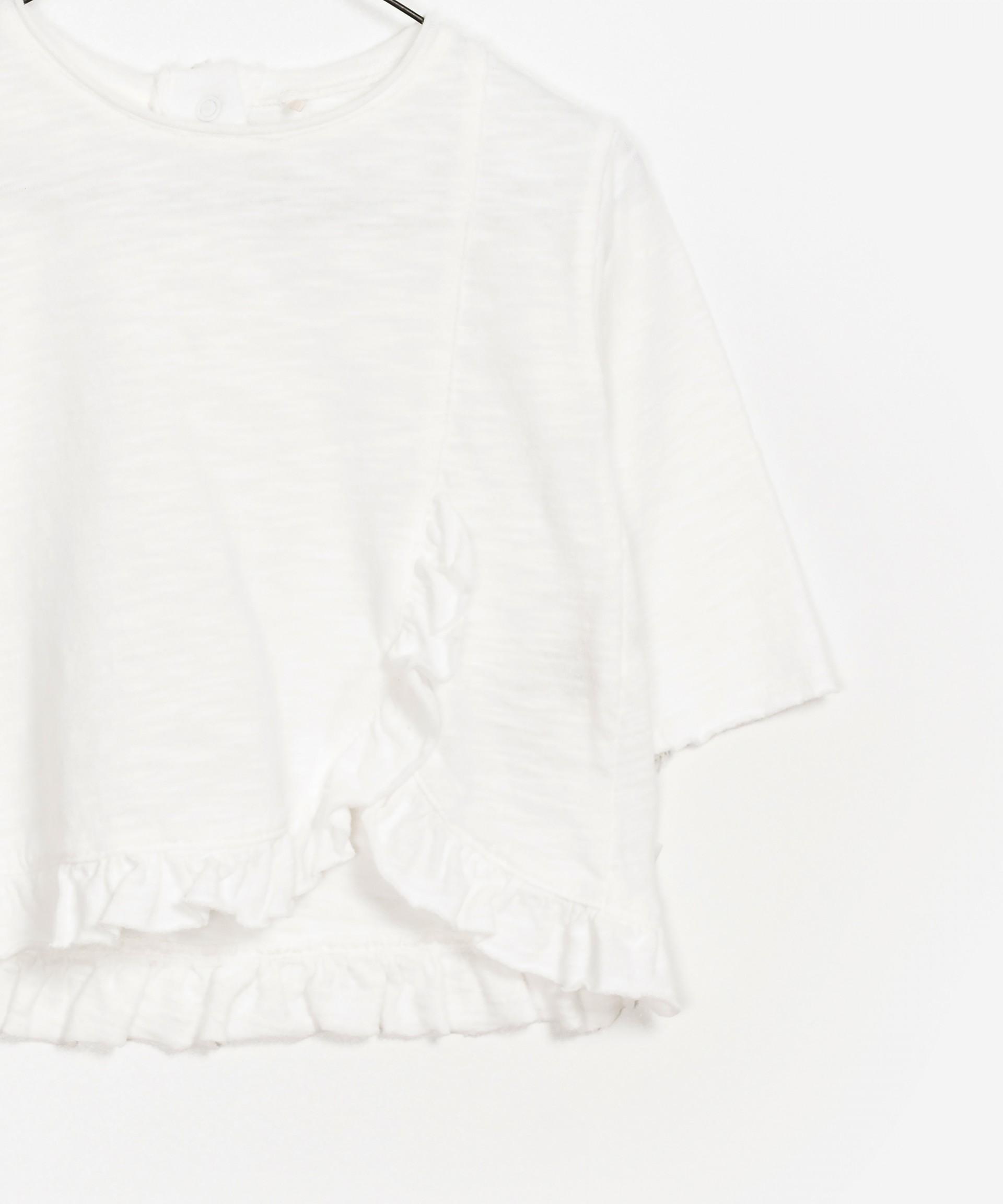 Camisola de algodão orgânico com folho