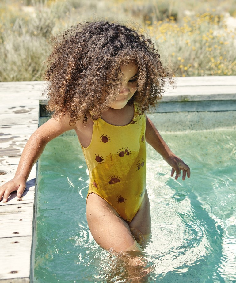 Swimsuit with sun print