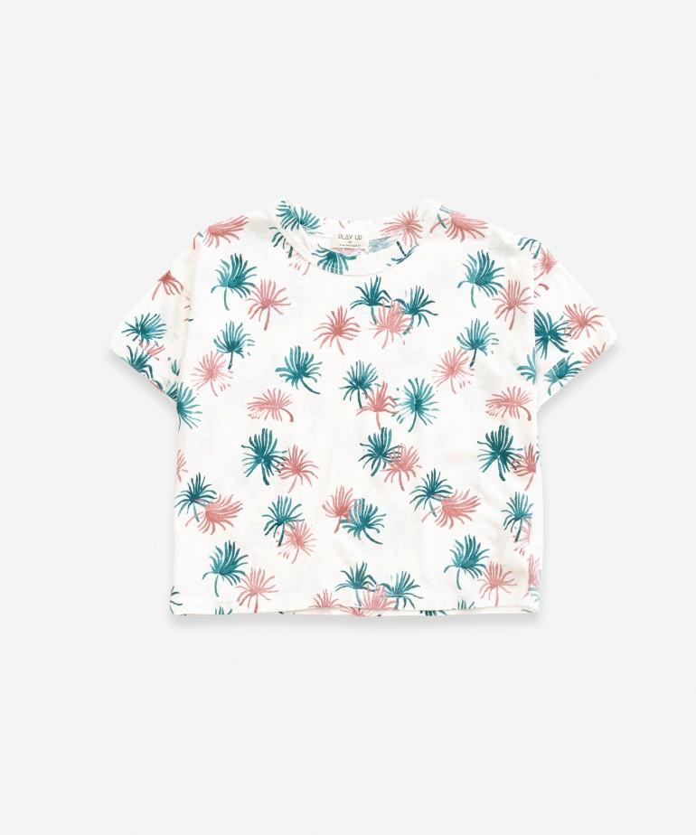 T-shirt com estampado de palmeiras