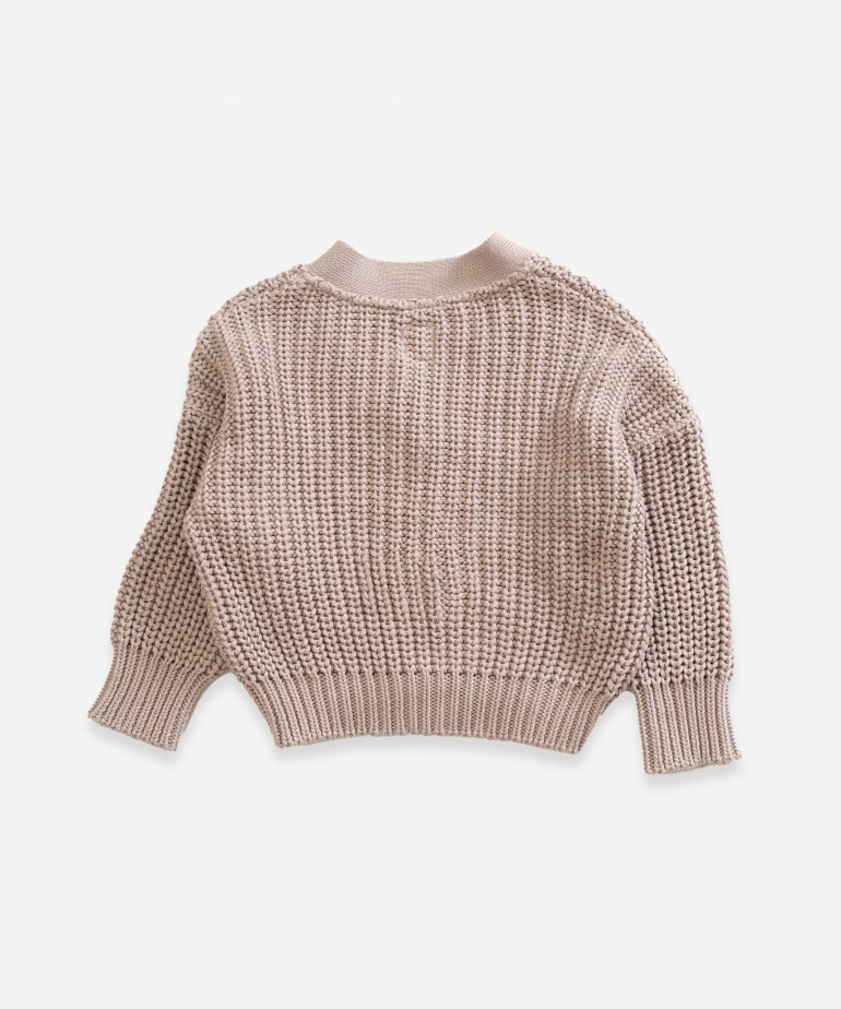 Knitted jacket in organic cotton