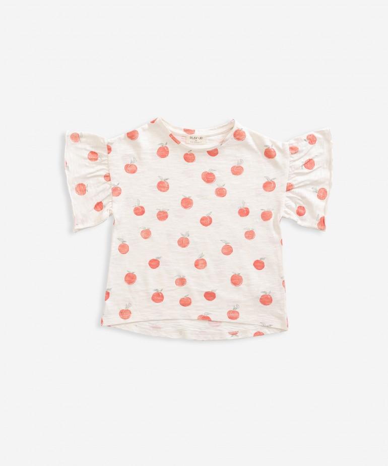 T-shirt com estampado de pêssego