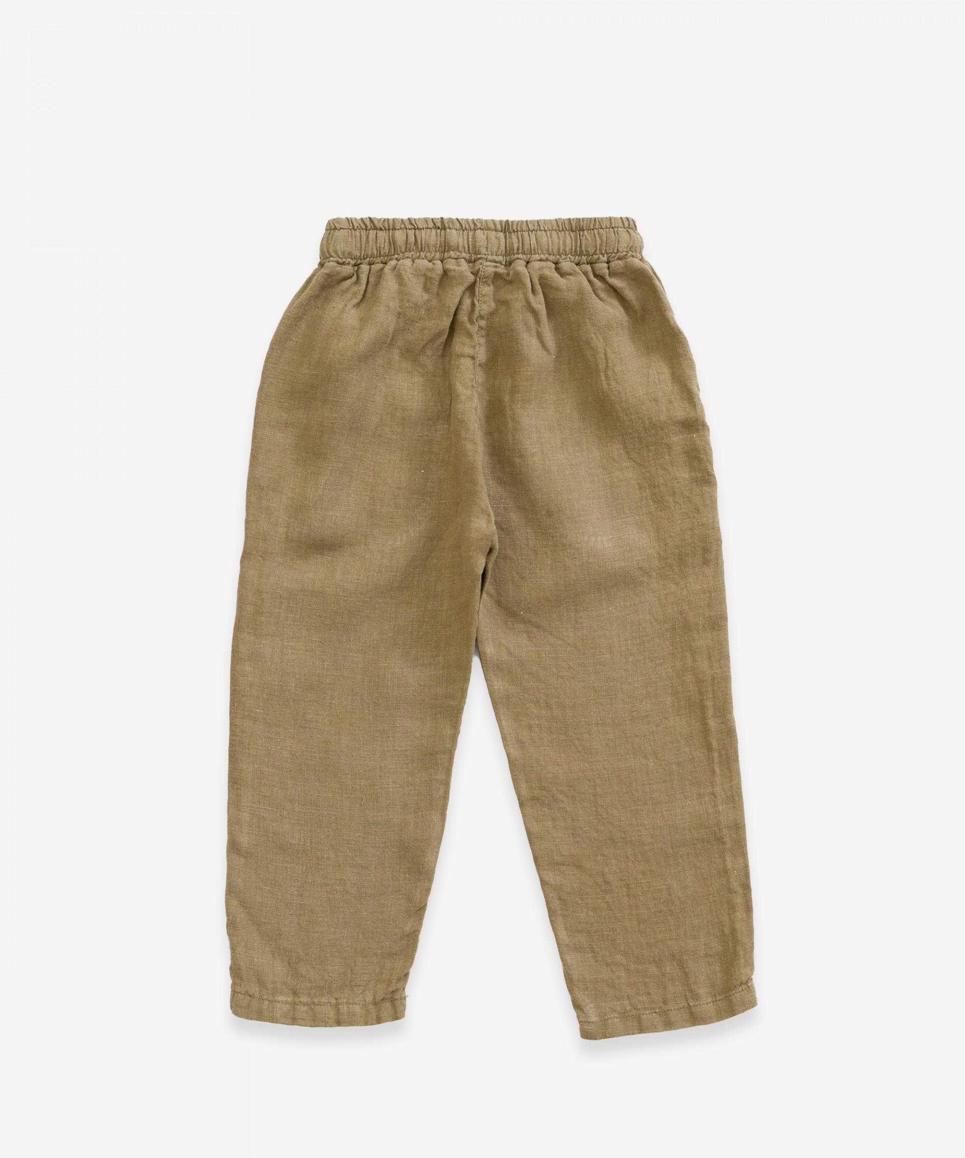 Pantalón de lino con cordón decorativo | Weaving