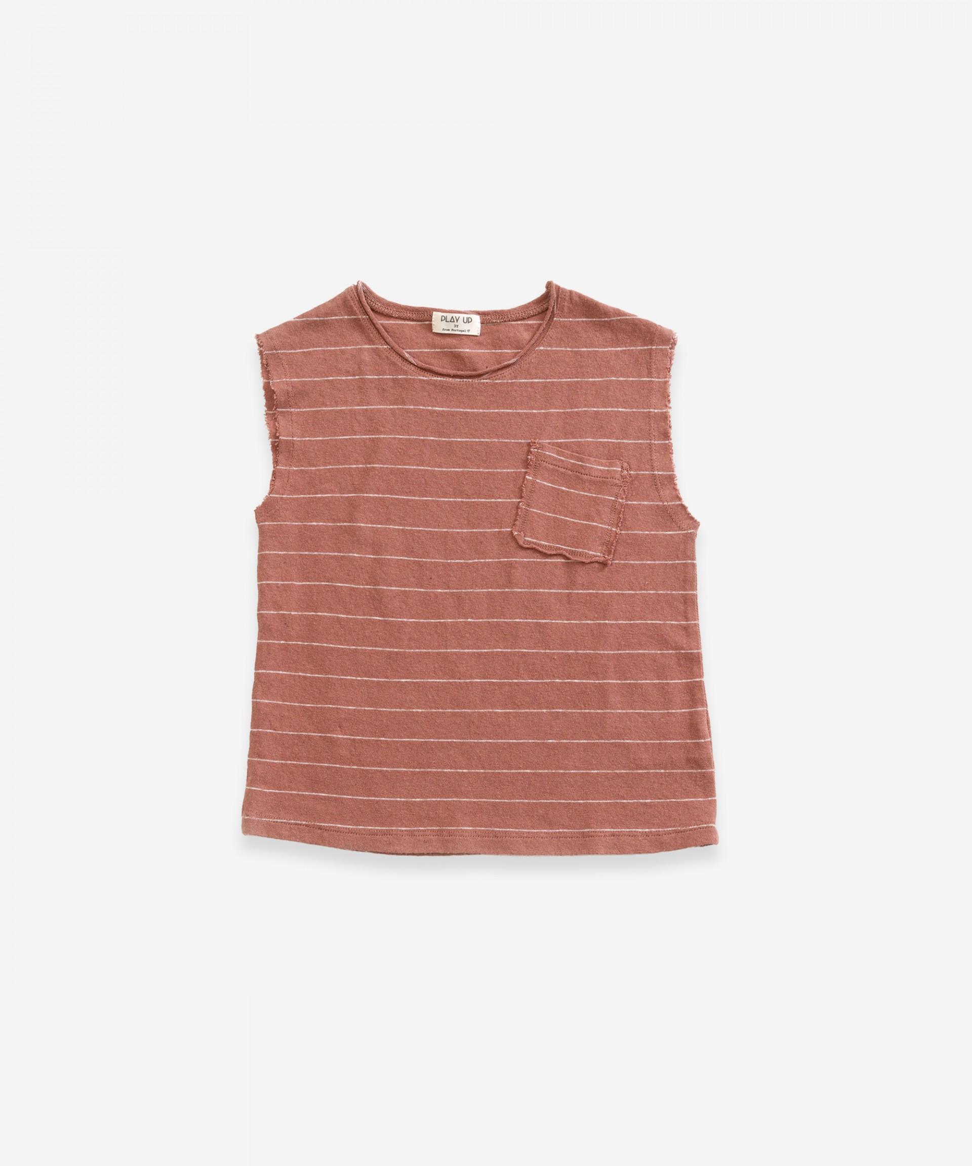 Camiseta sin mangas de algodón-lino| Weaving