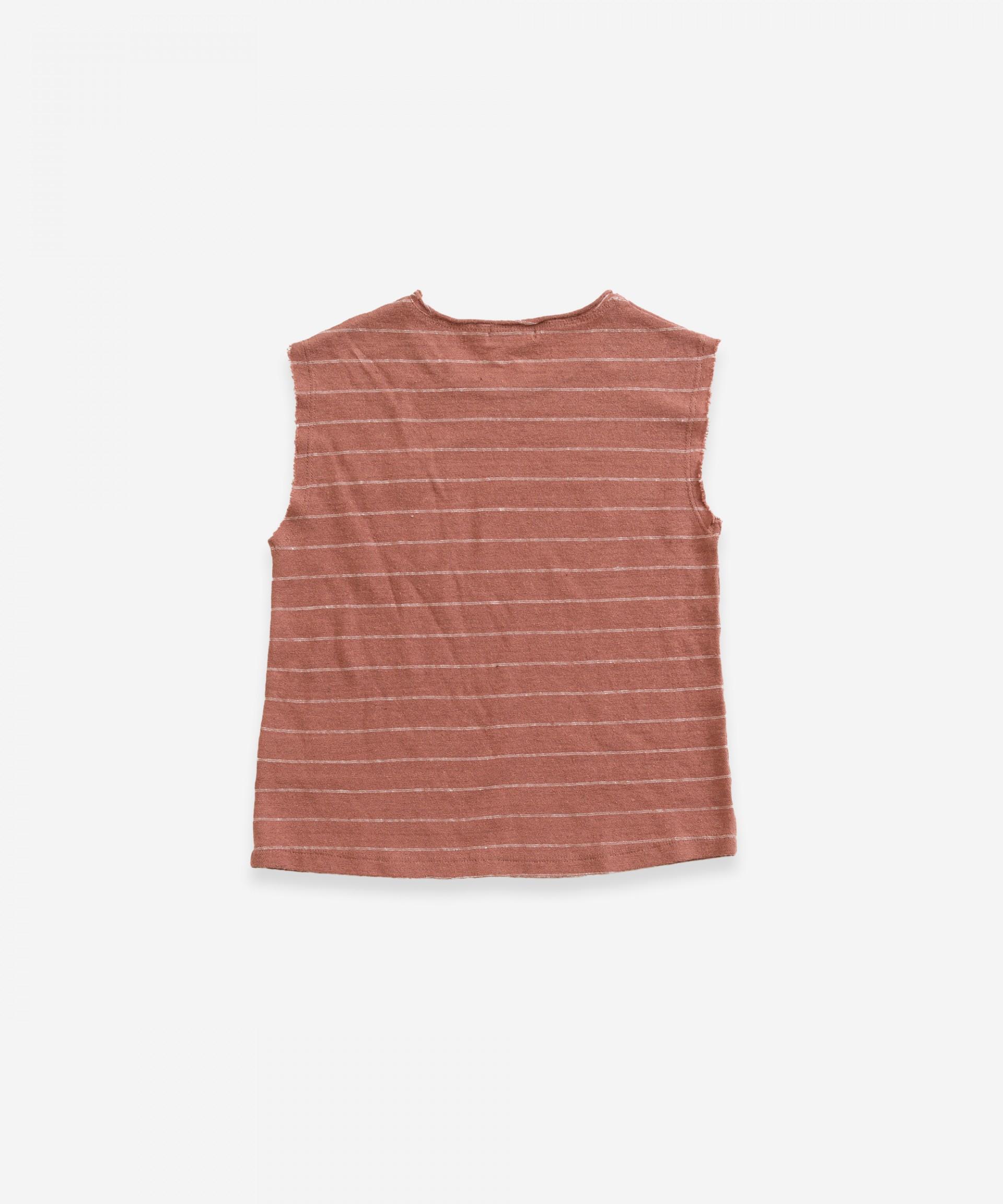T-shirt sem mangas em algodão-linho | Weaving