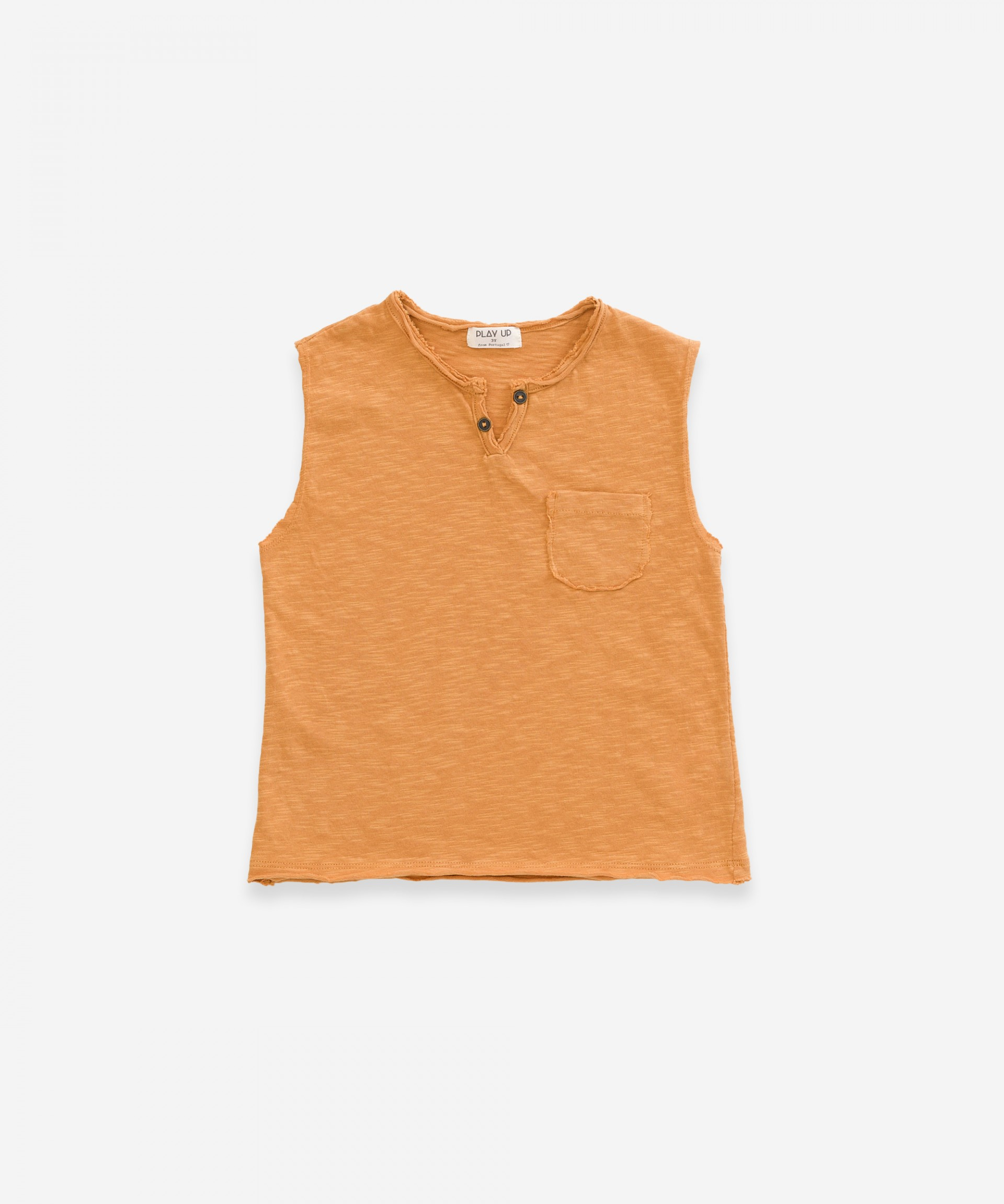 Sleeveless t-shirt in organic cotton | Weaving