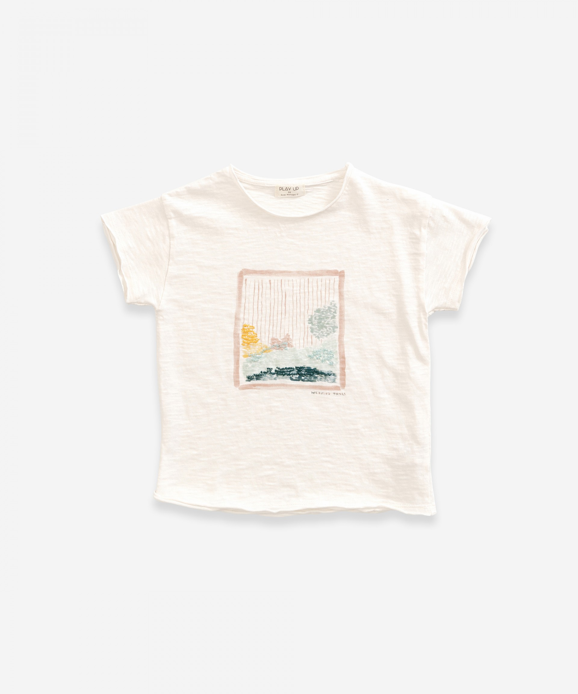 T-shirt in organic cotton with print | Weaving