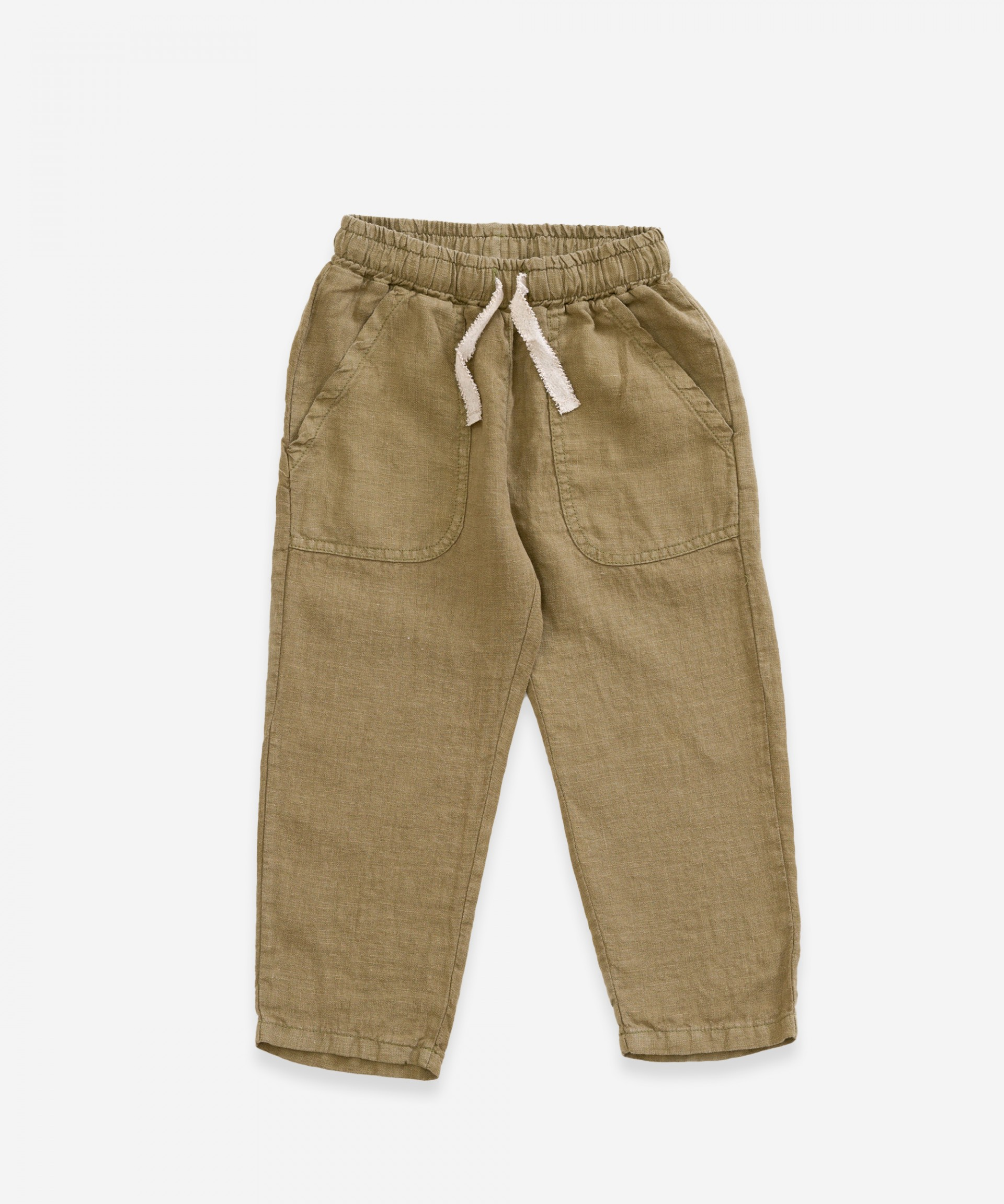 Linen trousers with decorative drawstring | Weaving