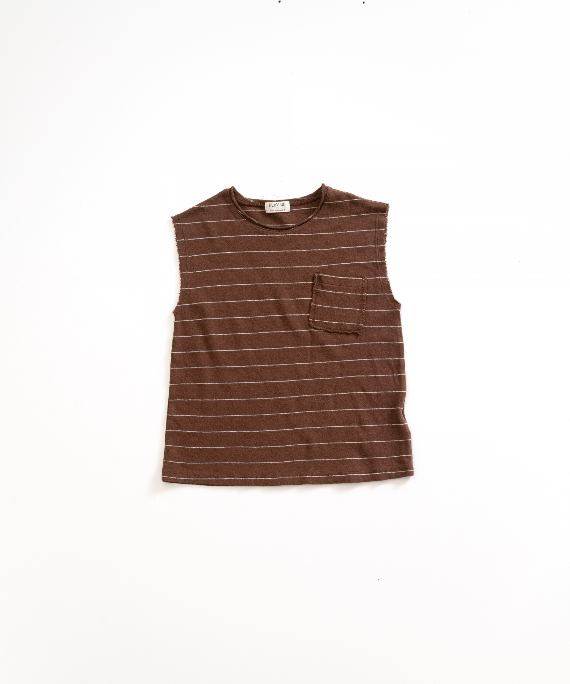 Sleeveless t-shirt in cotton-linen | Weaving