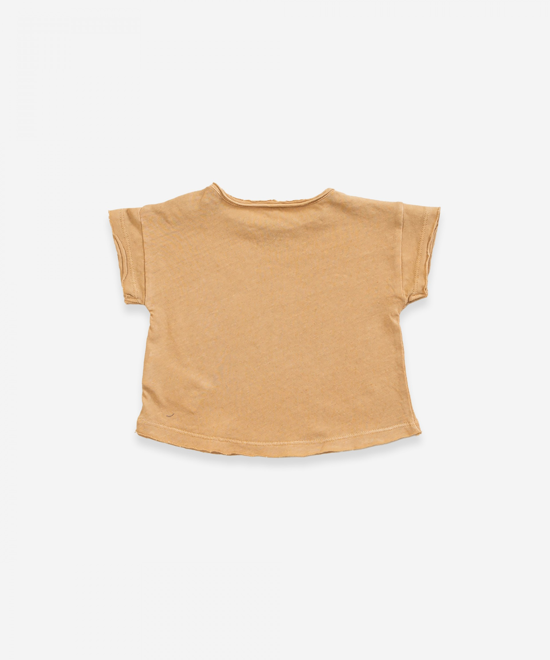 T-shirt in cotton-linen with opening on shoulder | Weaving