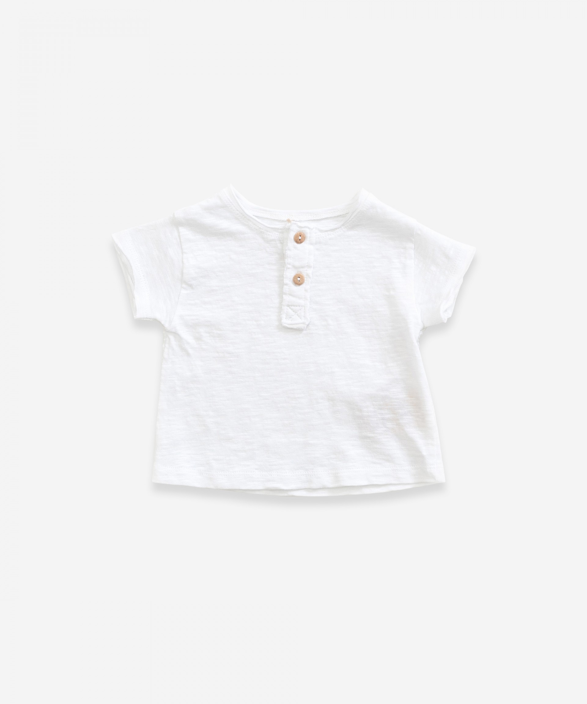 T-shirt in organic cotton with buttons | Weaving