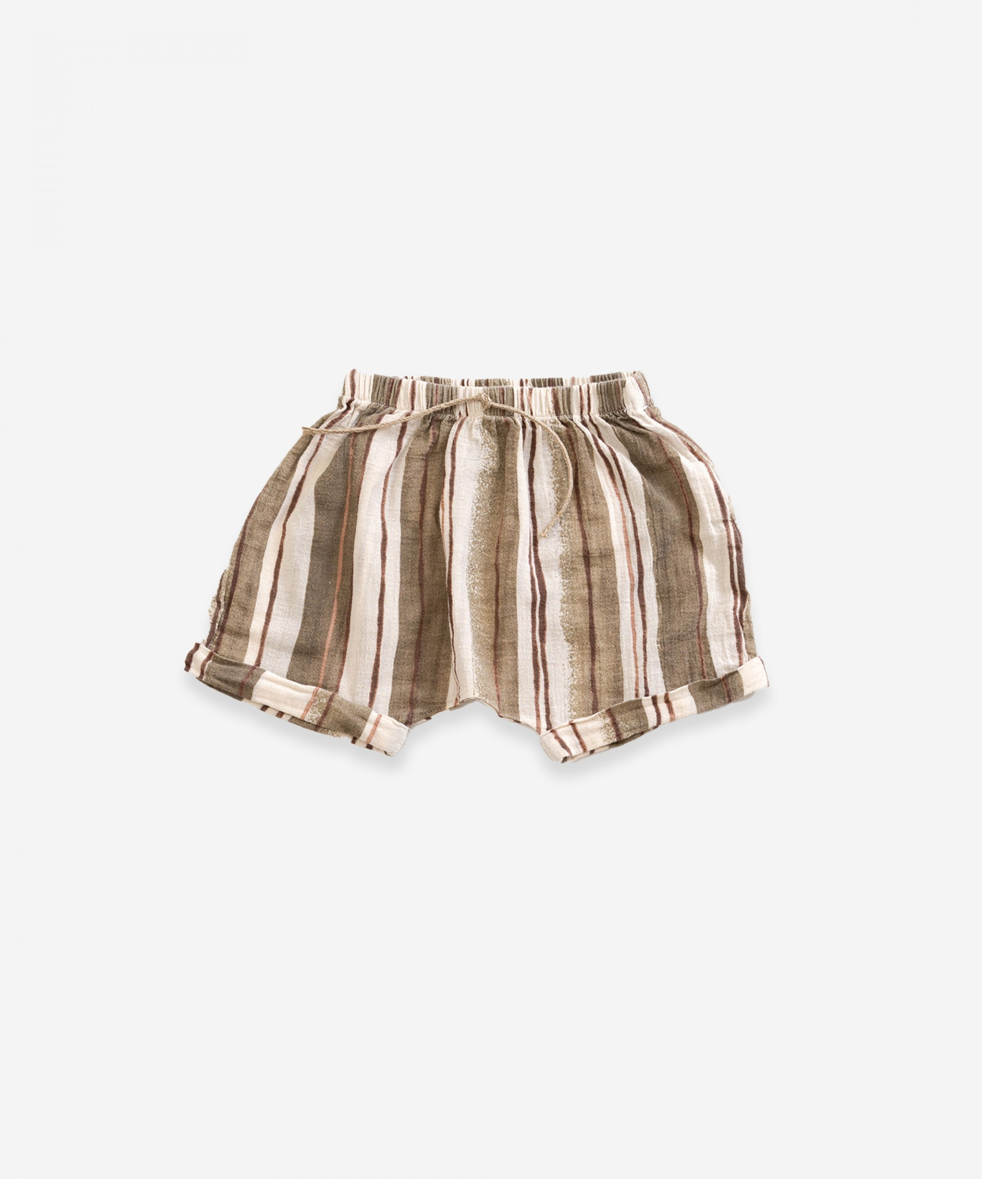 Striped cotton shorts | Weaving
