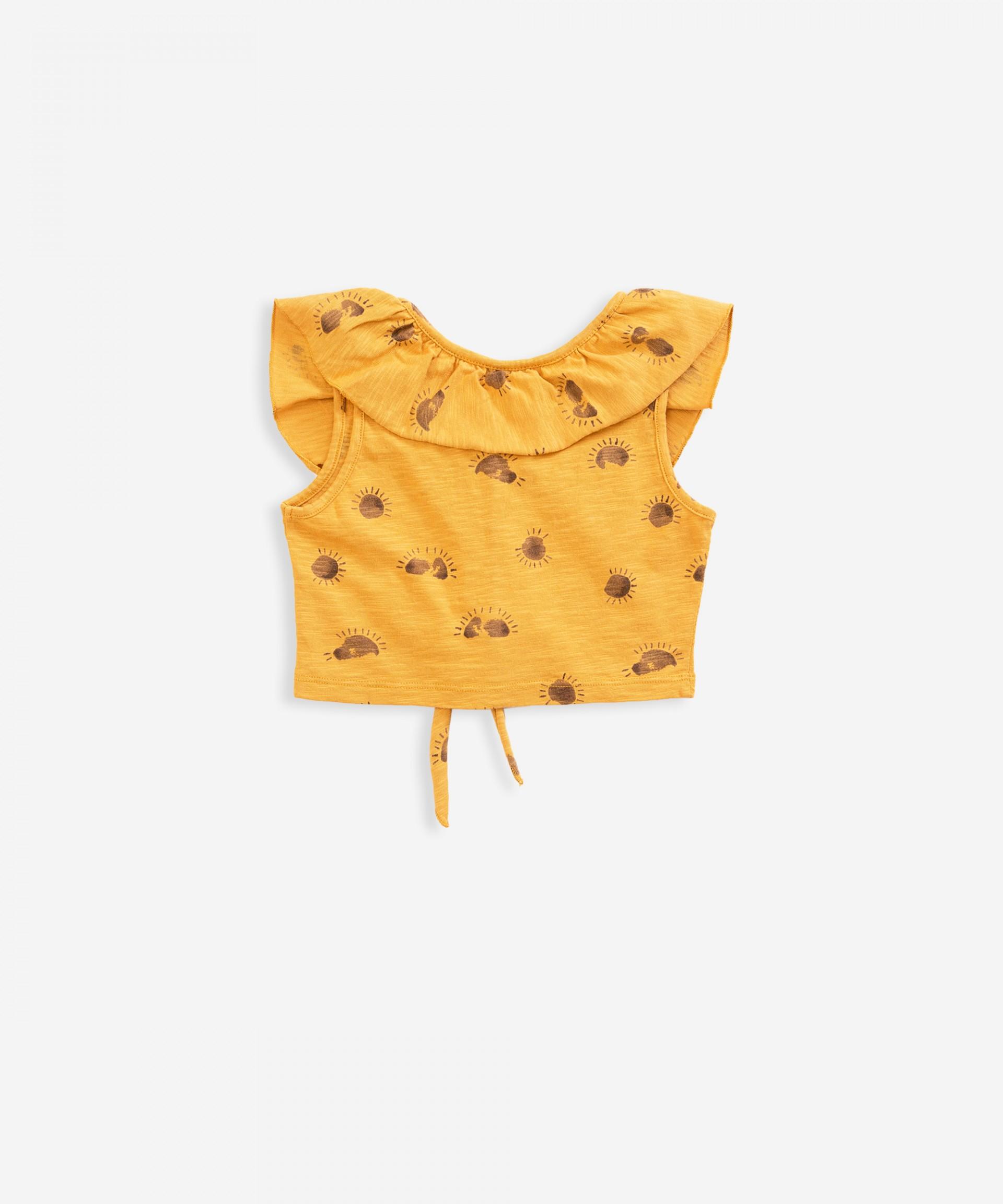 Camisola sem mangas com abertura de botões | Weaving