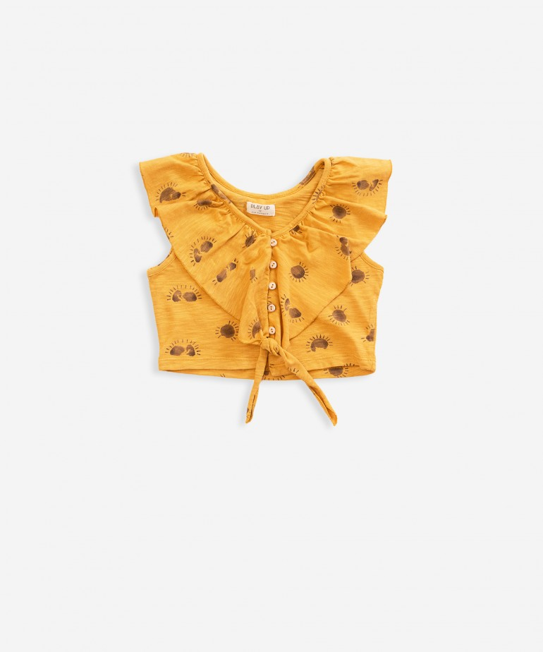 Camisola sem mangas com estampado e folho