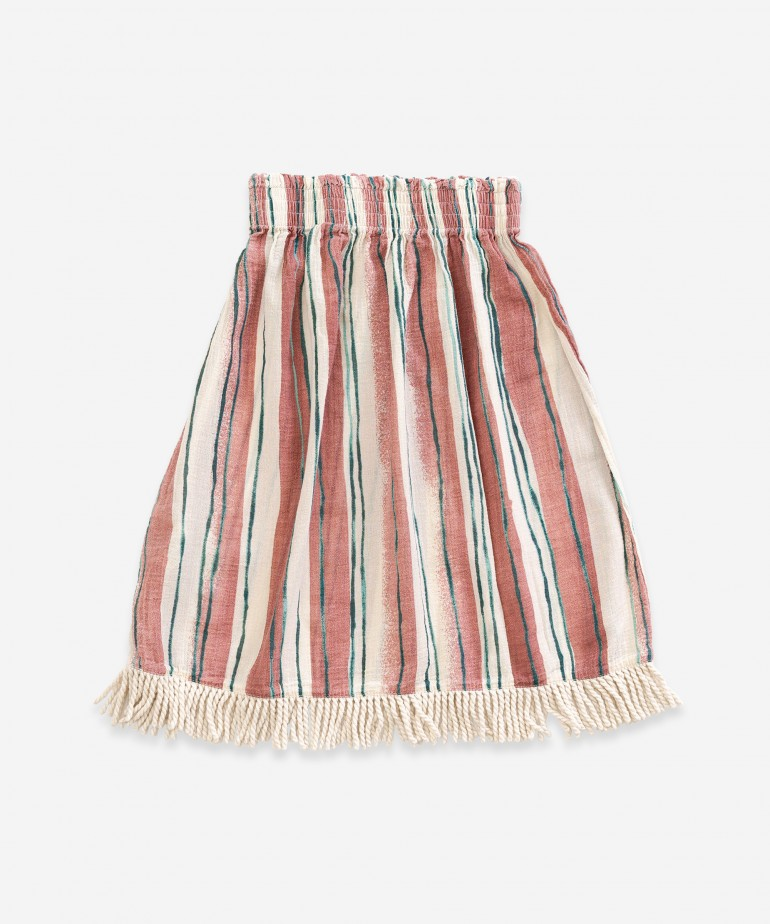 Skirt with stripes and tassels