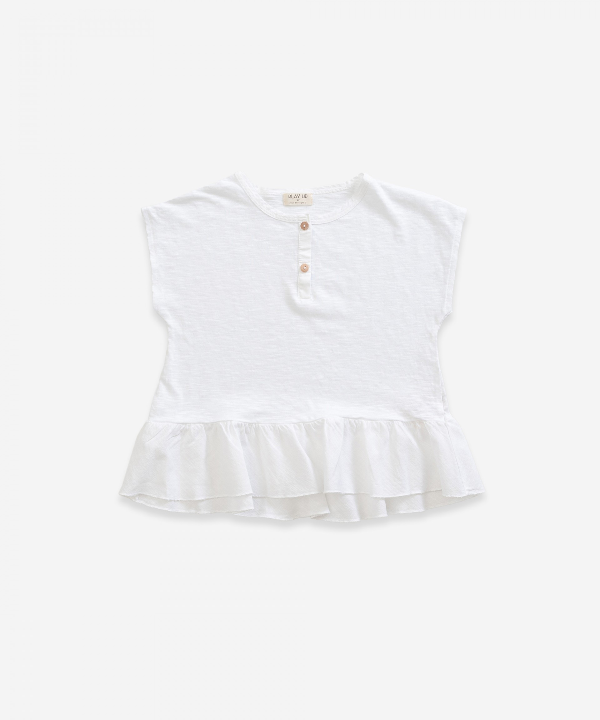 T-shirt  in organic cotton with frill | Weaving