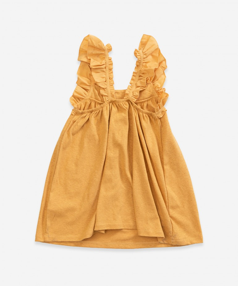 Strap dress with frills