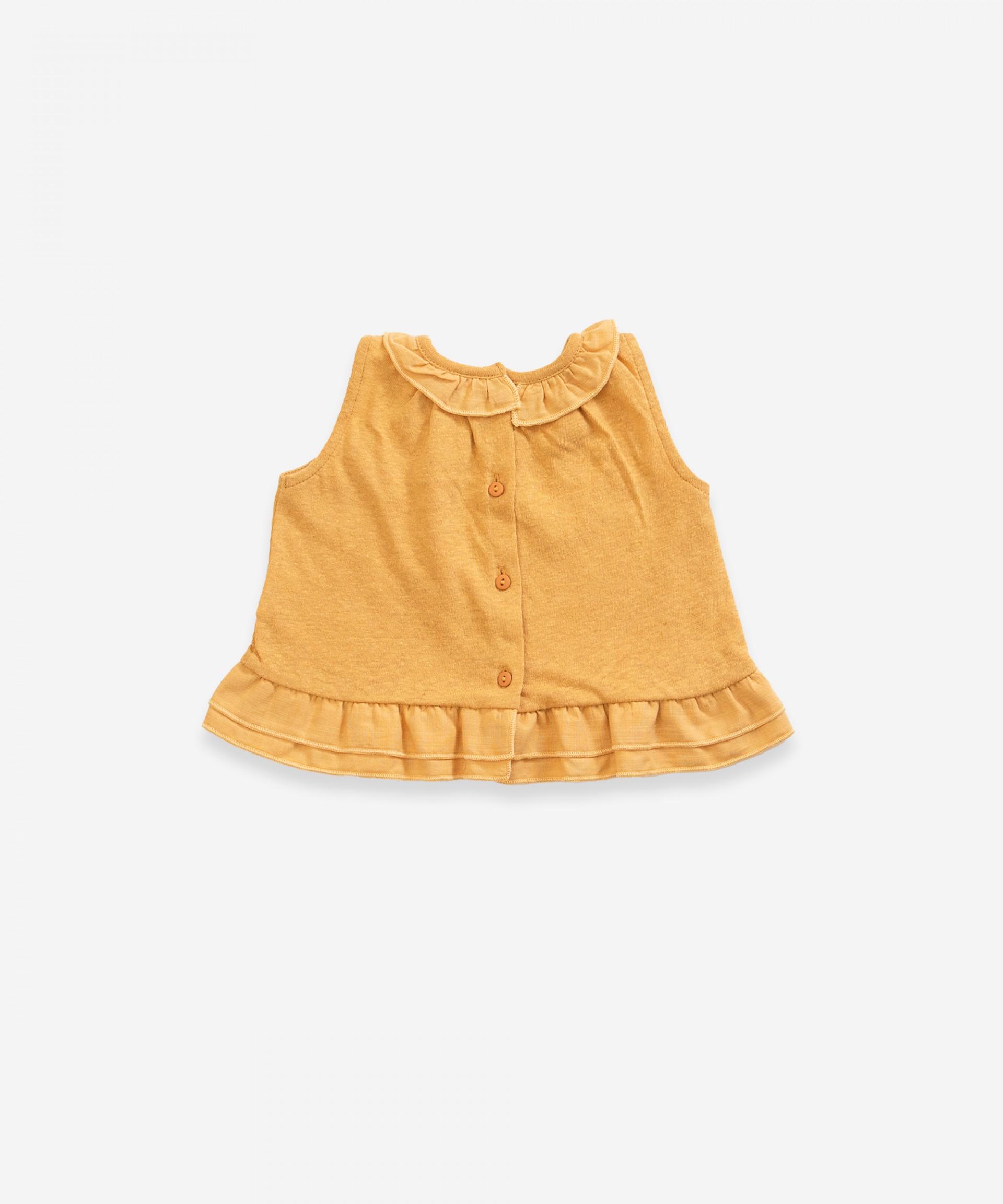 Blusa sin mangas de algodón orgánico y lino | Weaving
