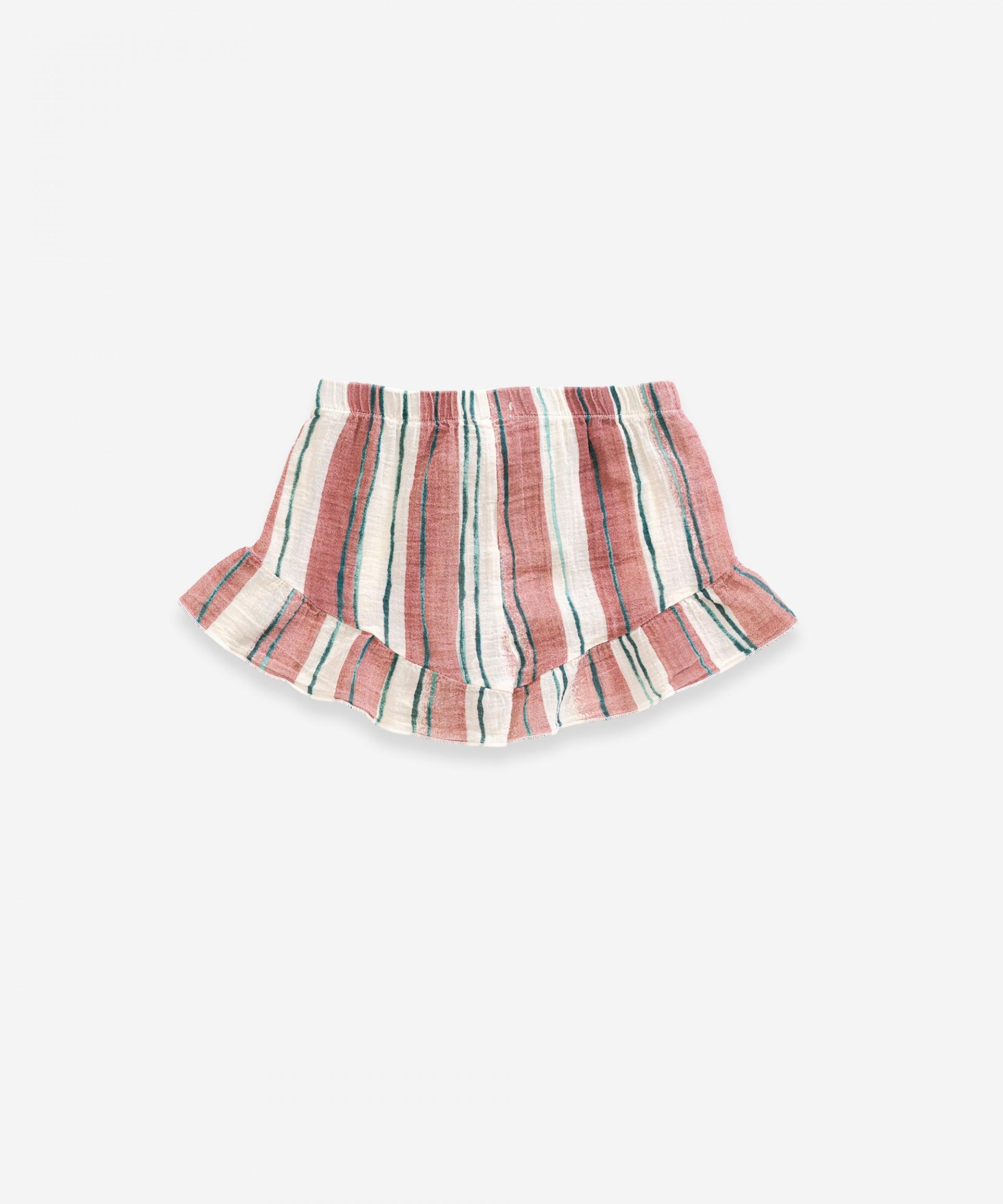 Striped cotton shorts | Weaving