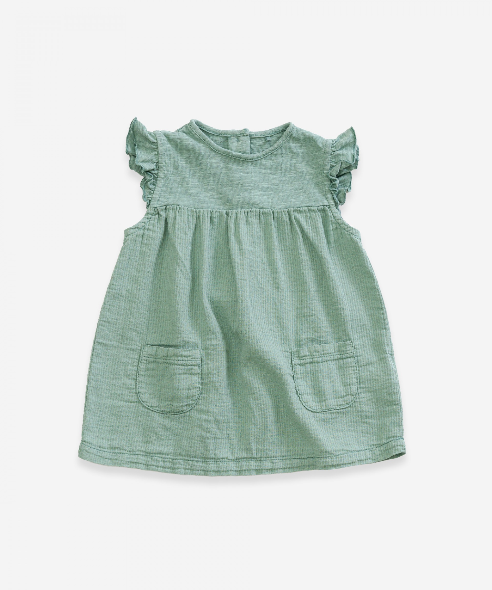 Dress in organic cotton with pockets | Weaving