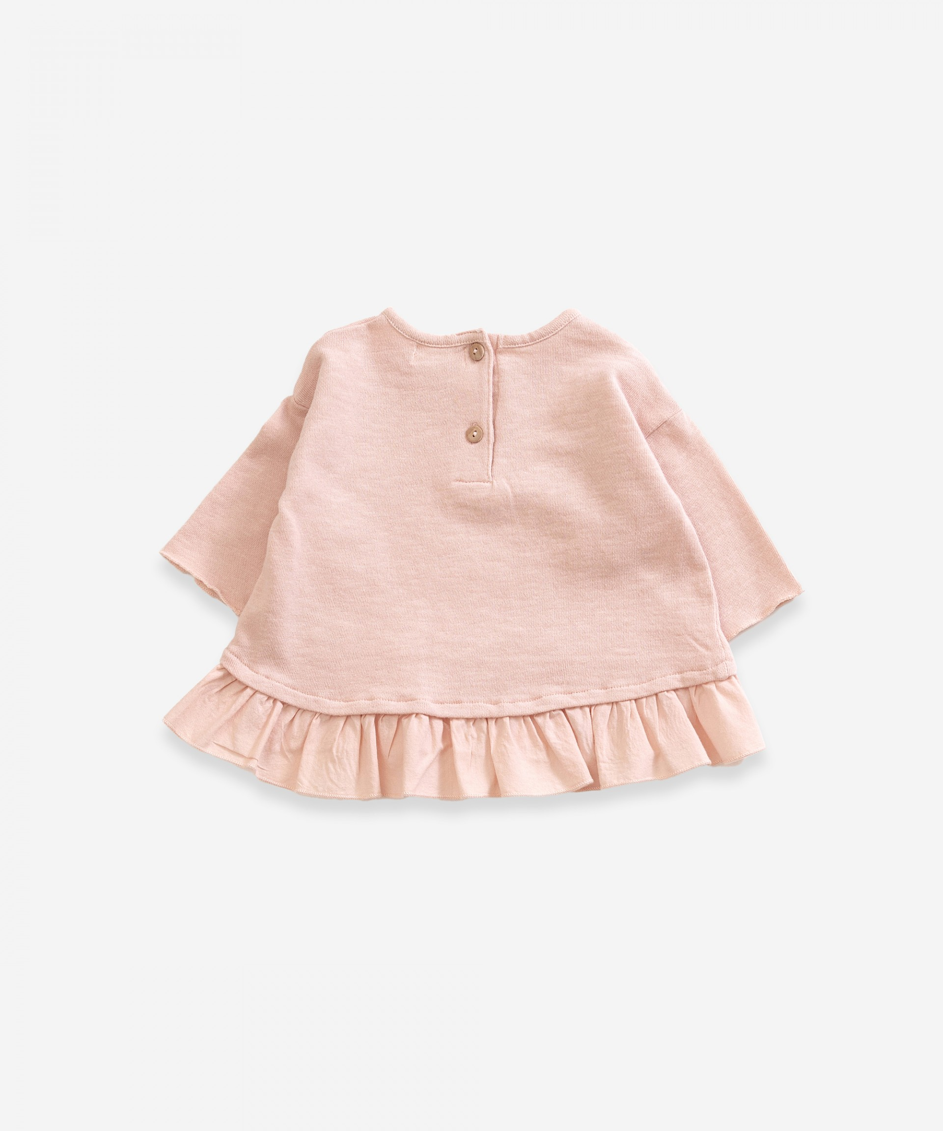Sweater in organic cotton with frill | Weaving