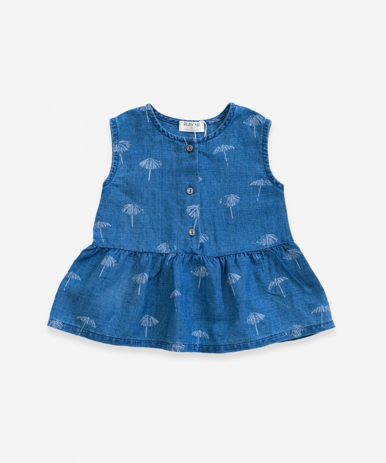 Denim dress with print