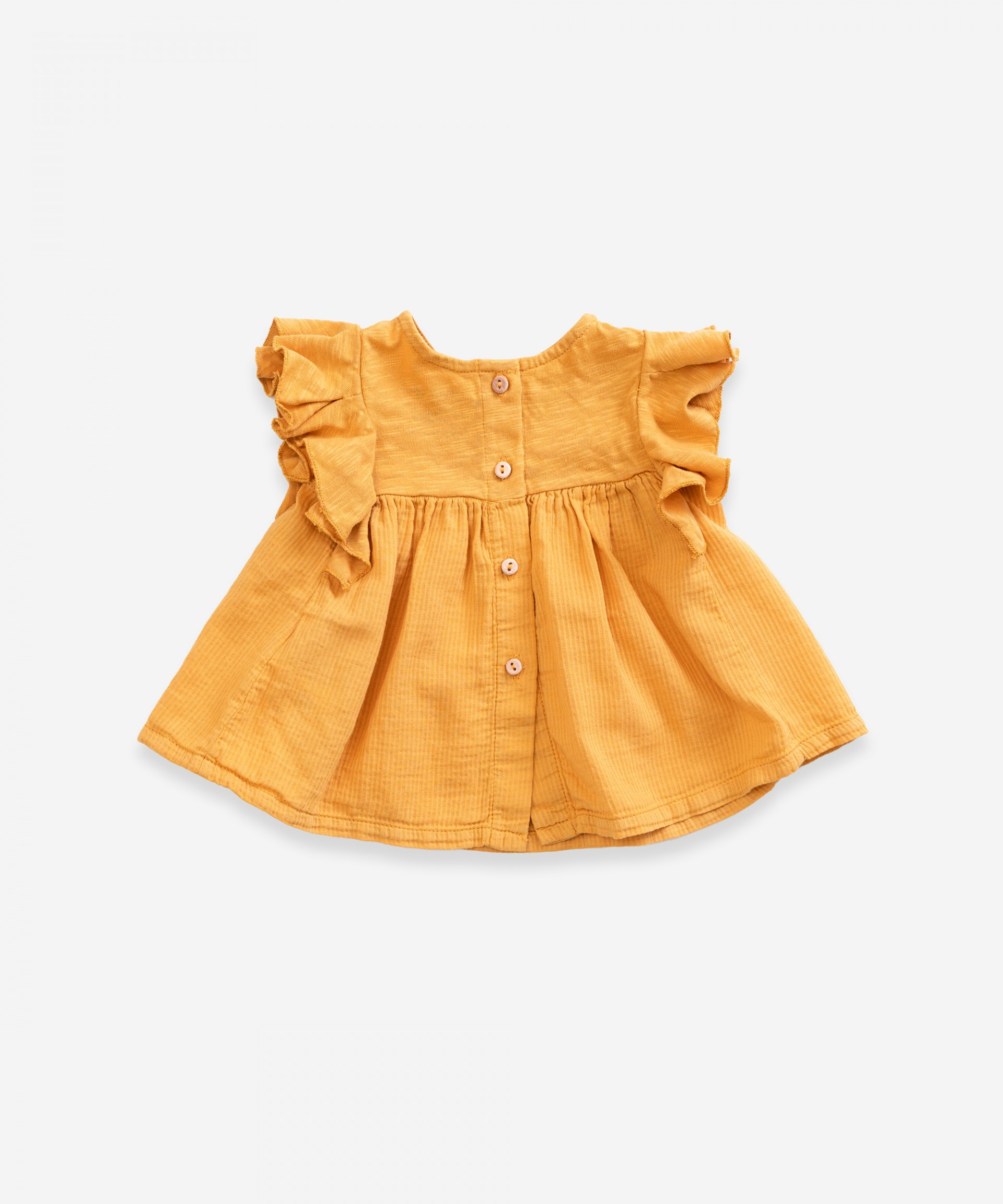 Tunic in organic cotton  with frills  | Weaving