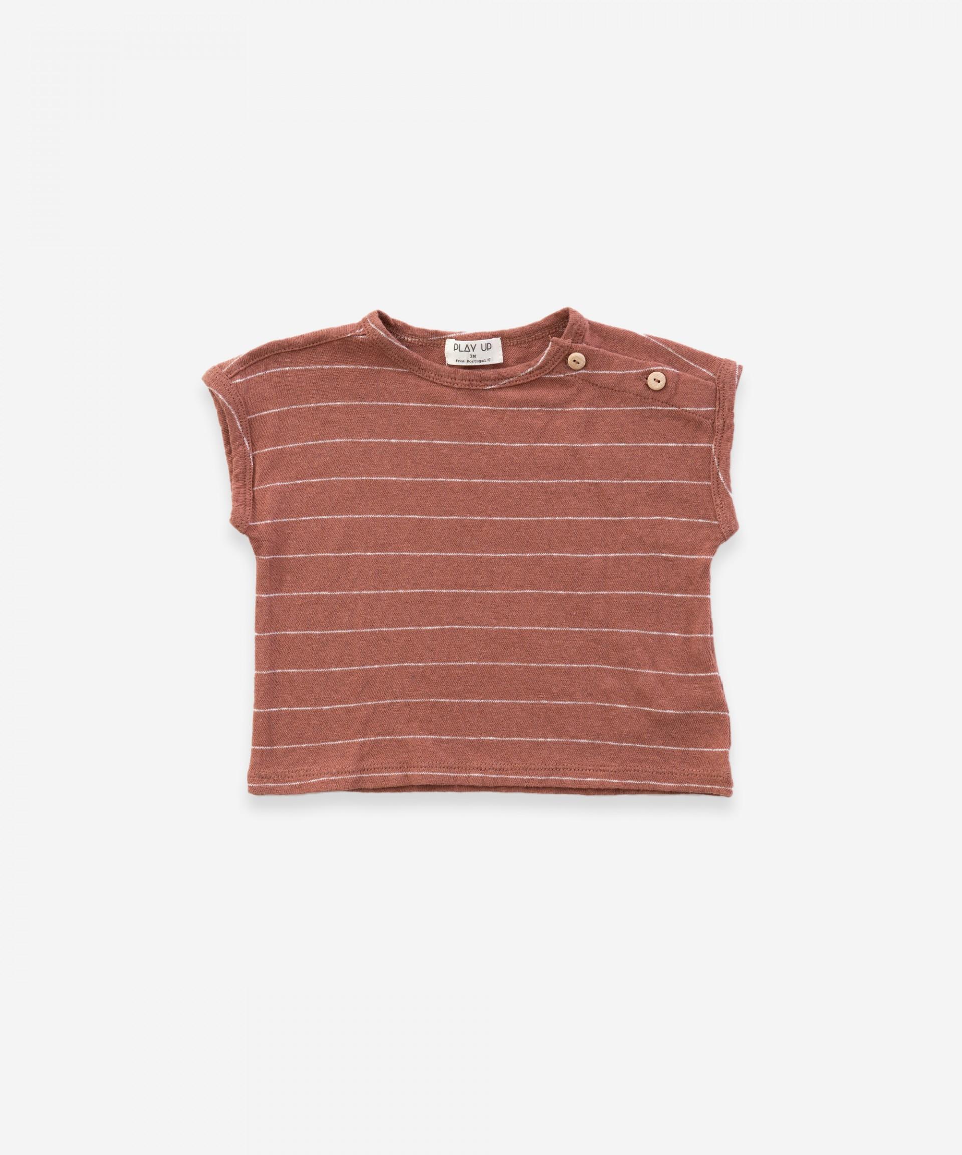 T-shirt senza maniche in cotone-lino| Weaving