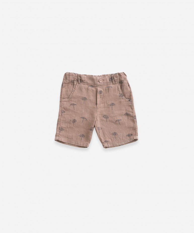 Linen shorts with print