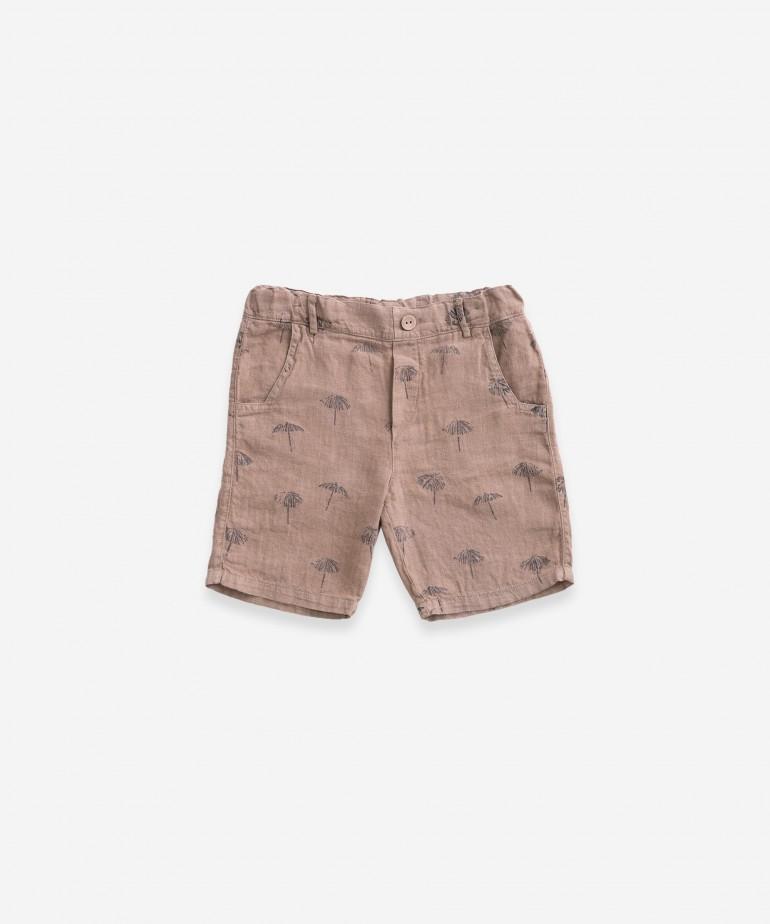 Pantaloncini in lino con stampa