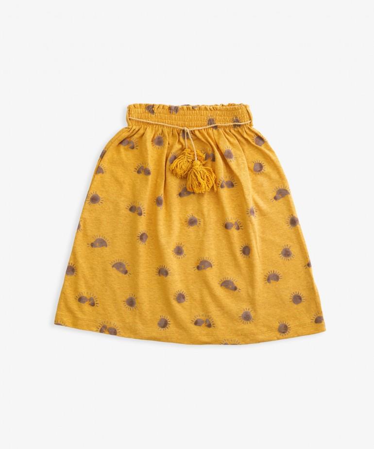 Falda con estampado de sol