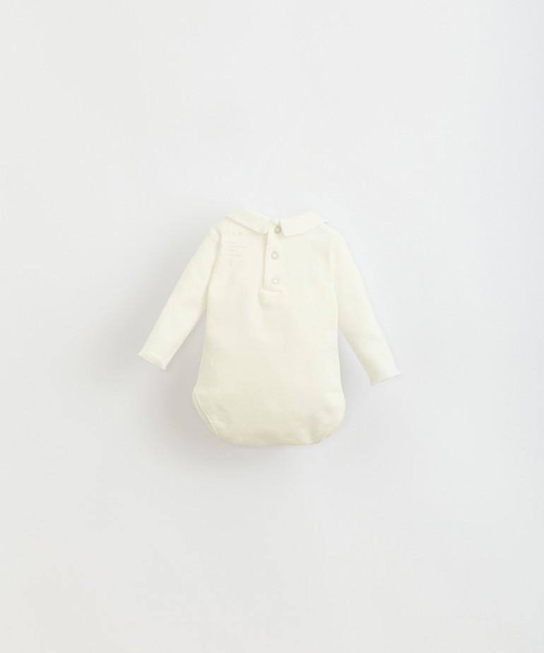 Body con collo in tessuto