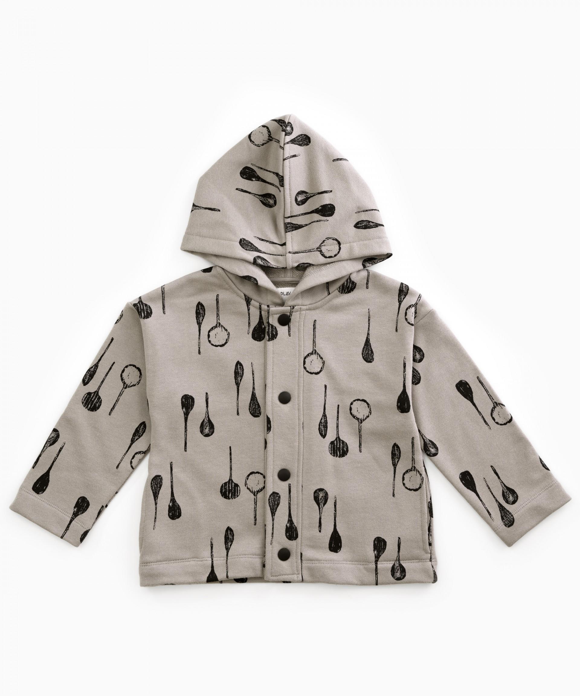 Hooded printed jacket | Woodwork