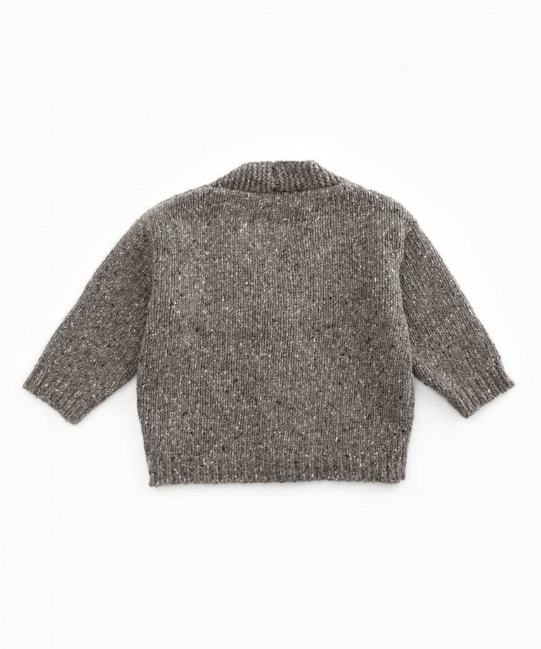 Chaqueta tricot con cuello de pico