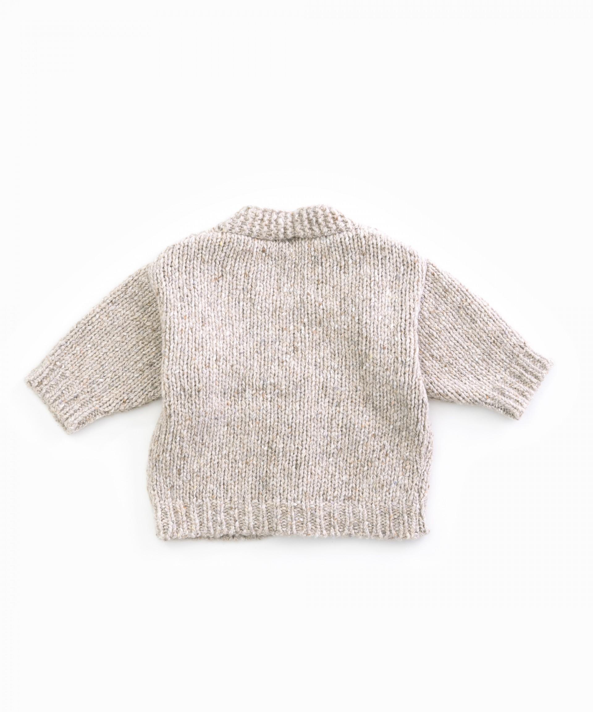 Chaqueta tricot con cuello de pico | Woodwork