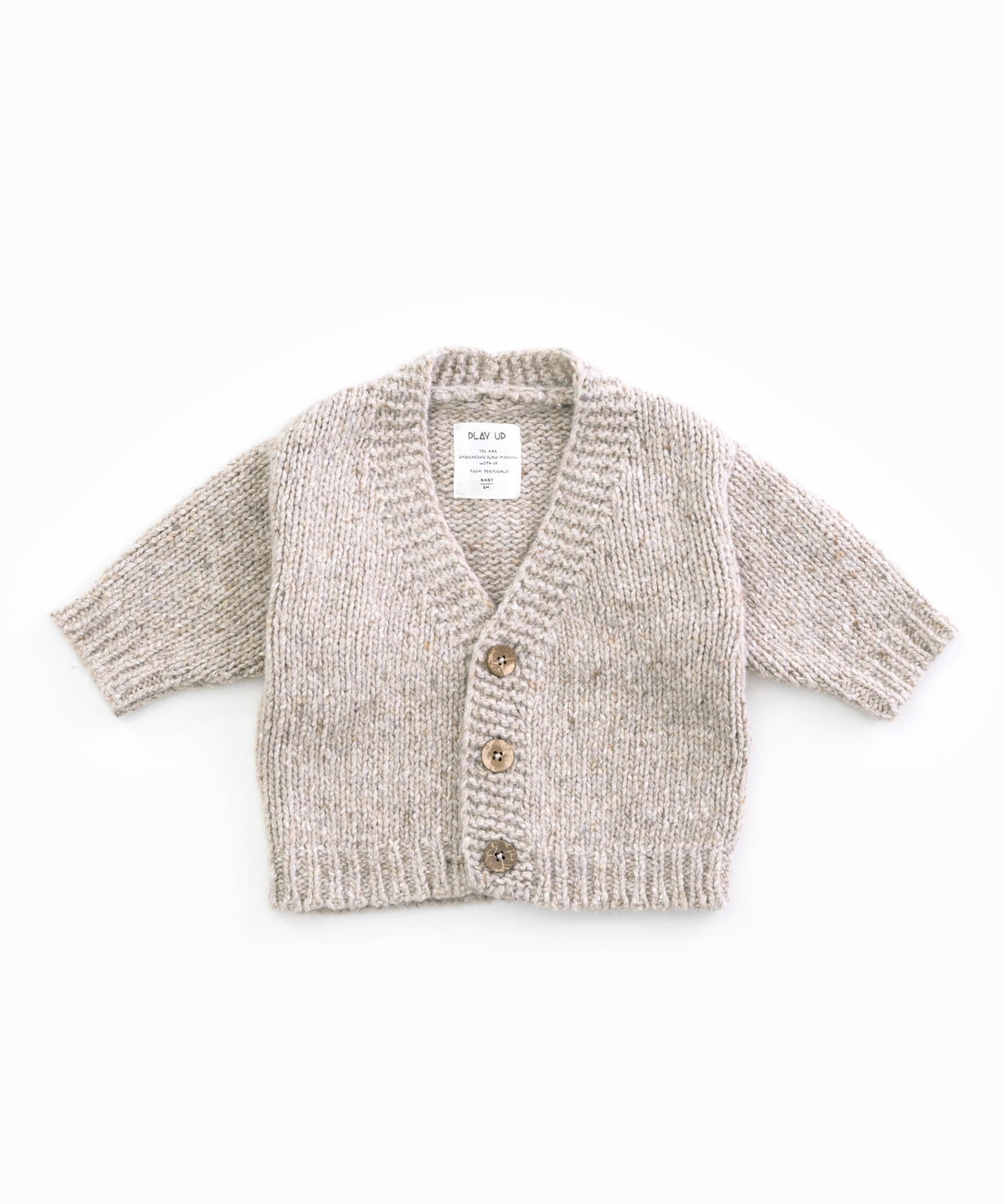 Casaco tricot com decote em V | Woodwork