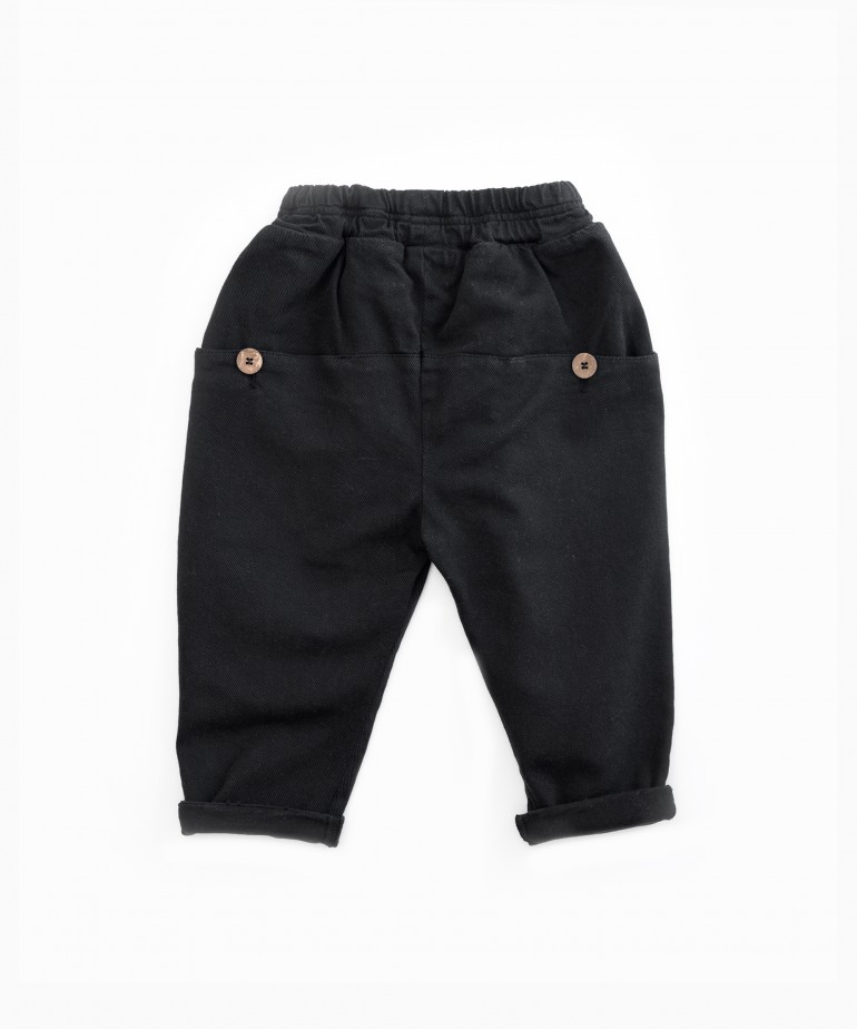 Serge trousers with rear pockets