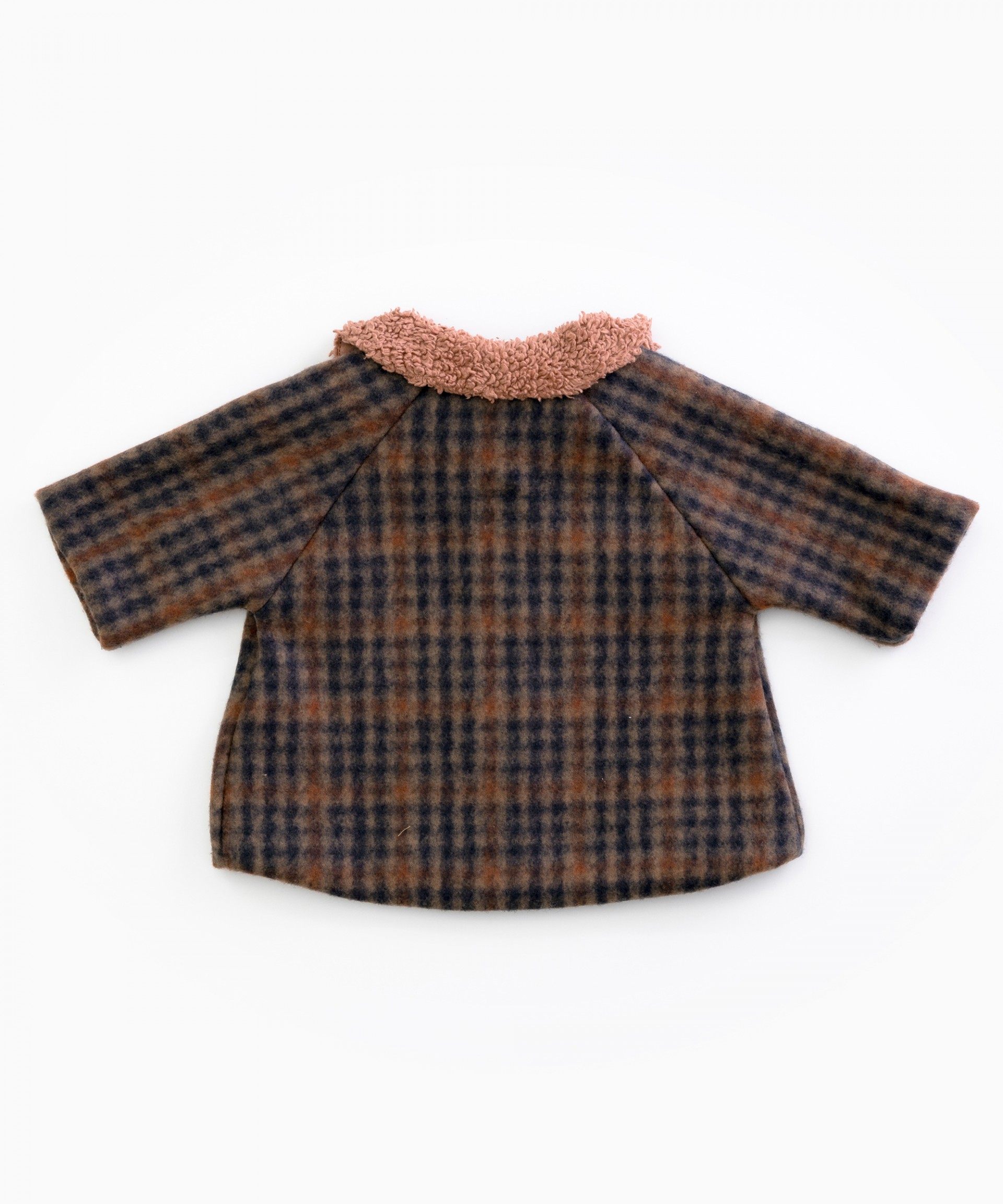 Chequered jacket with fur collar | Woodwork