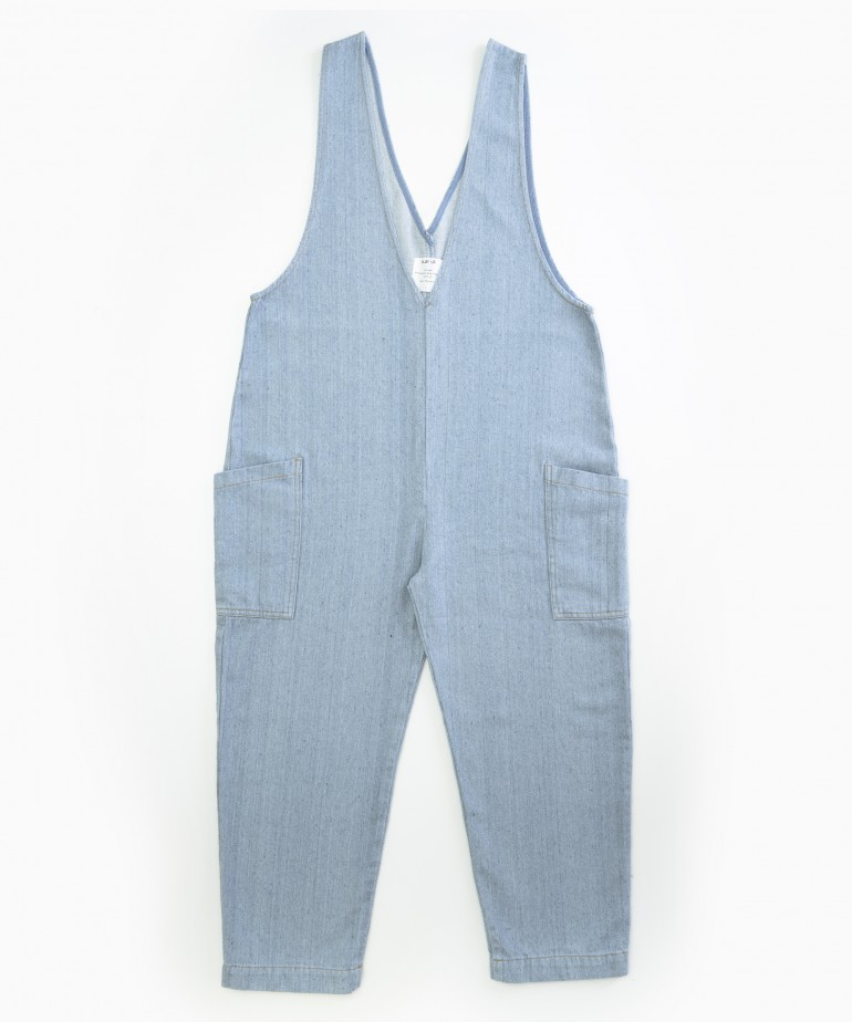 Denim dungarees in recycled cotton