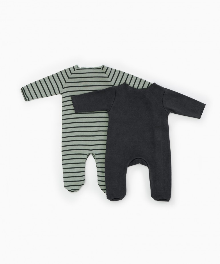 Pack of 2 striped baby grows