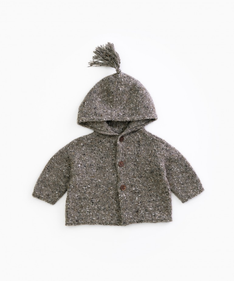 knitted jacket with hood