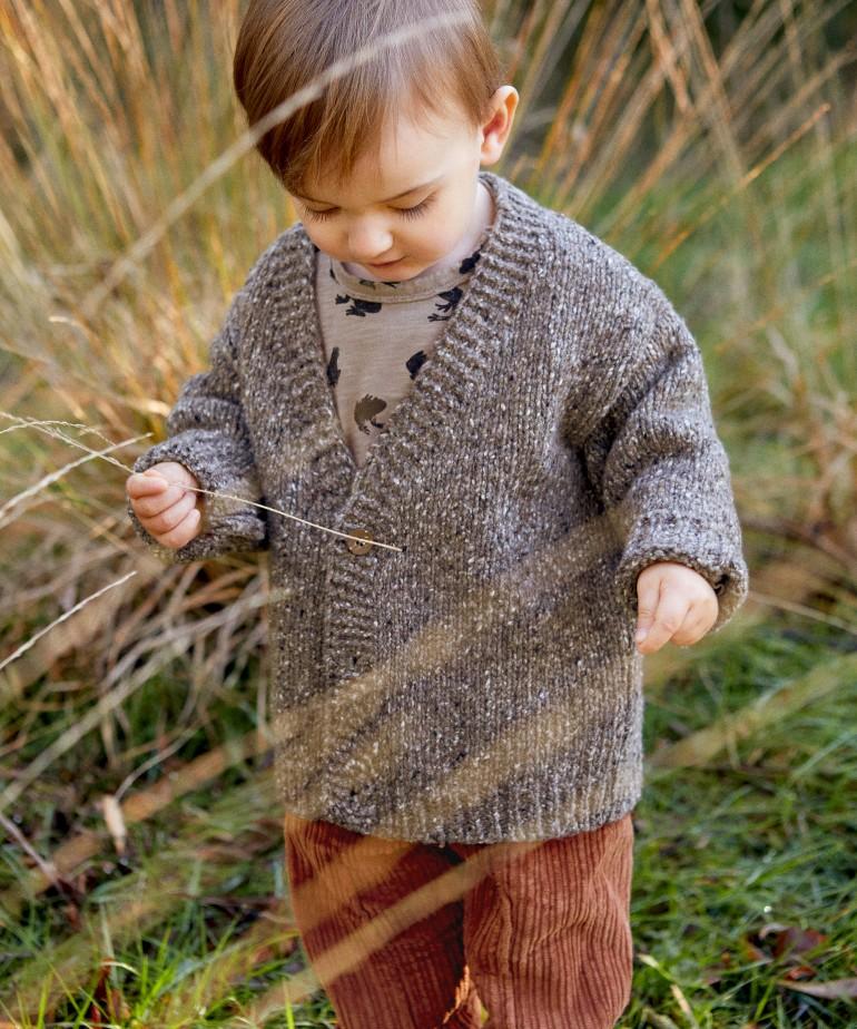 Casaco tricot com fibras recicladas