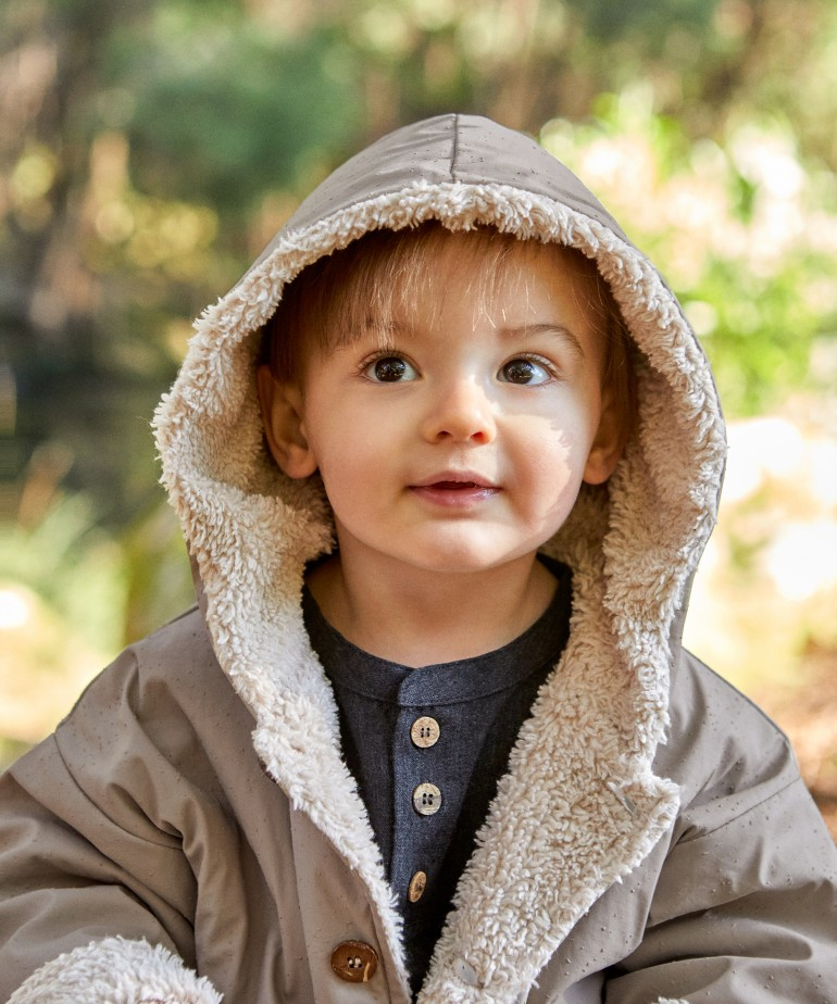 Waterproof jacket with coconut buttons