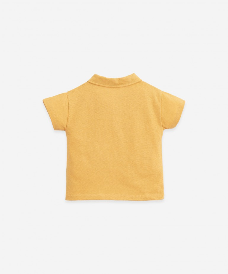 Polo shirt in organic cotton and linen