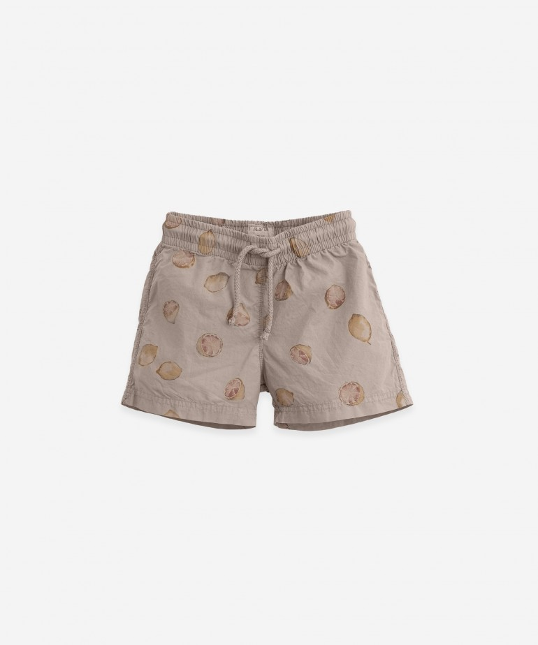 Printed poplin swimming shorts