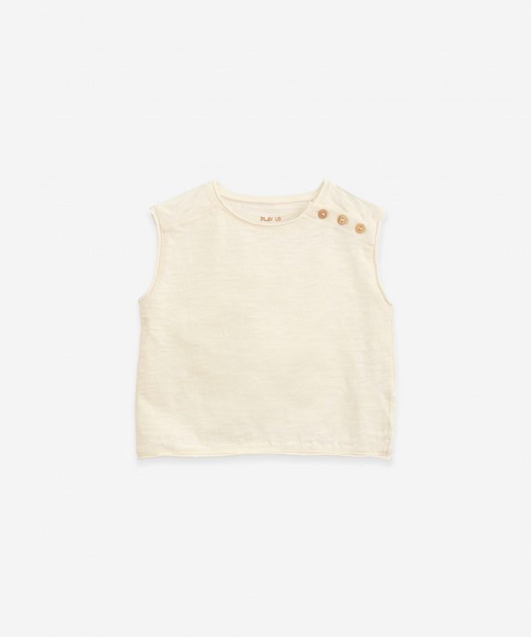 T-shirt sem mangas em algodão orgânico