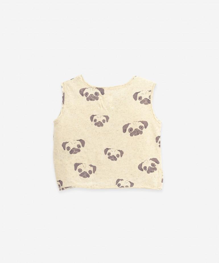 Sleeveless T-shirt with Pug print
